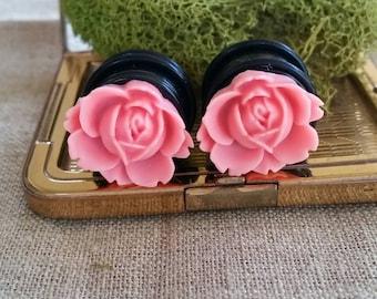 Flower Plugs, Wedding Gauges, Prom Gauges, Medium Size, Wide Flower, Pink, Roses