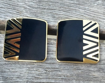 "Laurel Burch Cloisonne Art Deco Post Earrings, ""NAITO"" Vintage 1980's"