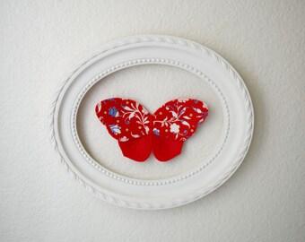 3d fabric butterfly, wall decor for girls room, nursery decor. red butterfly fabric wall decal. 3d wall art