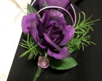 Boutonniere - Silk Purple Rose Flower Boutonniere - Floral Boutonniere - Prom Boutonniere