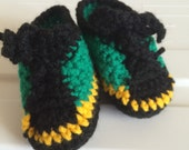 Crochet Baby Tennis Shoes, Jamaica Baby Shoes, Baby Unisex Shoes, Jamaica Flag, Crochet High Tops, 0-6 months