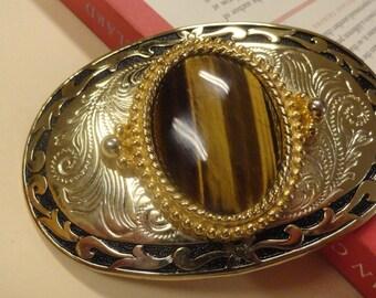 Killer Belt Buckle Tiger's Eye Western Medallion