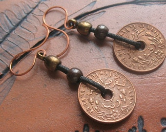 Earrings-handmade dangle earrings-handcrafted mixed metal earrings-unisex earrings -drop earrings-leather  ear wires--coins-jewelry-boho