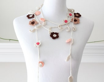 Crocheted Brown Tan Ivory Orange Lariat, Necklace, Scarf, Scarflette