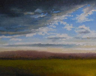 Stormy Weather_Original Oil Painting_Gold Leaf Wood Frame_ Landscape_ Pochade Box Painting_Alla Prima Study_En Plein Air
