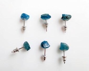 Raw Crystal Earrings, Apatite Studs, Teal Stud Earrings, Everyday Silver Studs, Gemstone Stud Earrings