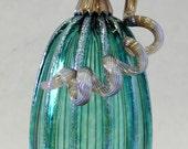 Hand Blown Glass Art Sculpture JADE Pumpkin Oneil 6365