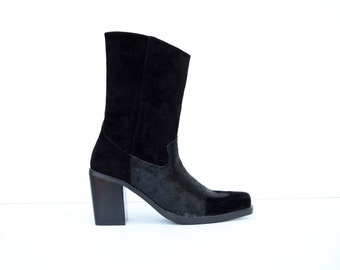 Vintage Pony Hair & Suede 1990's Black Leather Western Inspired Slim Zip Ankle Chelsea Boots US 7 7.5 8.5