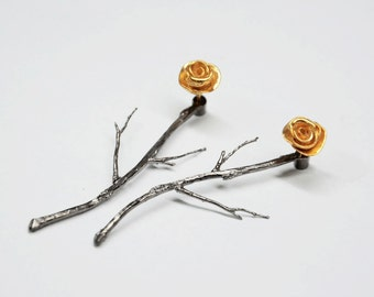silver ear jackets, gold plated silver ear jacket, rose earrings,rhodium plated branches earrings,silver ear jackets,silver rose ear stud