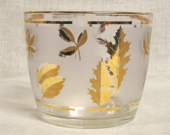 Ice Bucket , Bar Ware , Glass Ice Bucket , Ice Holder , Mid-Century , Leaves , Leaf Pattern , Leaf Design , Leaf Motif , Gold , Libby