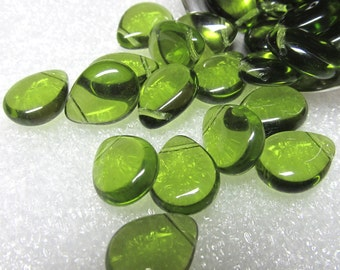 Czech Glass Beads 16 x 12mm Brilliant Puffed Avocado Green Smooth Teardrop Briolettes - 8  Pcs