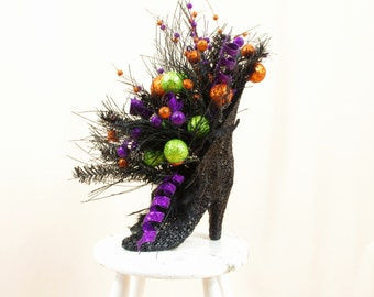 Halloween Decor * Elegant Black Witch Boot Centerpiece * Witch Boot Arrangement * Halloween Decoration * Halloween Witch * Black and Orange