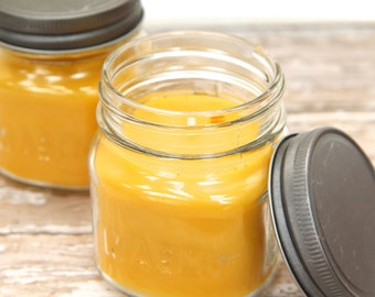 100% Pure Beeswax Candle - aromatherapy candle, mason jar, natural, essential oils, clean burning, eco-friendly, non-toxic - 9oz jar candle