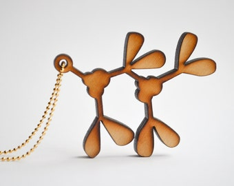 Mistletoe To Go Necklace - Long Laser Cut Wood Charm Necklaces - Holiday Jewelry - Christmas Wish
