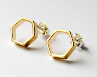 Gold Hexagon Stud Earrings - Geometric Honeycomb Studs -  Small Hexagonal Everyday Earings - Honeycomb and Honeybee Jewelry Hook And Matter
