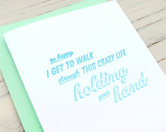 holding your hand letterpress card