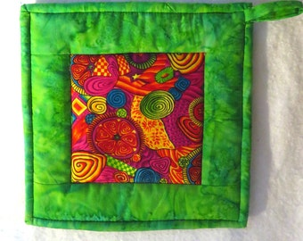 Potholder - FIESTA TIME!!  Colorful Potholder in Green, Red, Purple, Yellow and Blue, Hotpad, Mug Rug, Snack Mat