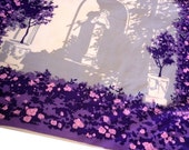 Signed Brooke Cadwallader Silk Scarf with Statuary Cherub Playing instruments Cream and Grey Edged in Purple, Violet and Pink Floral