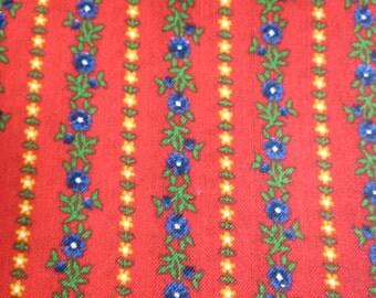 Vintage Red Floral Stripe Floral Cotton Fabric 6 yards