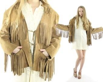 Vintage 70s Suede Fringe Jacket Hippie Boho Leather Coat Easy Rider Tan 1970s Mens Womens Outerwear Medium M Large L