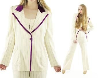 Vintage 90s Emanuel Ungaro Pants Suit Ivory Pinstriped Plum Tuxedo Boyfriend Jacket 1990s Medium M High Waisted Trousers Blazer
