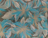 """Vintage 1960s Turquoise & Taupe Abstract Floral Silky Rayon Fabric, 46"""" x 2 2/3 YDs"""