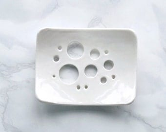 BUBBLE holes white glaze soap dish, porcelain soap dish, bathroom accessory, circle design, ceramic soap dish, white soap dish circle design