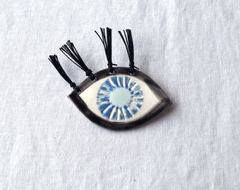 MYSTIC EYE brooch eye of god, all seeing eye, spirit eye, evil eye, eye jewellery, ceramic brooch, porcelain, tassel brooch, cotton tassel