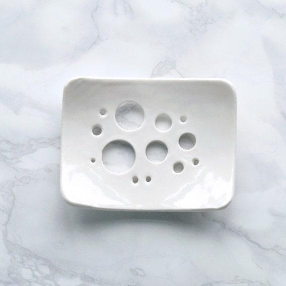 BUBBLE holes white glaze soap dish, porcelain soap dish, bathroom accessory, circle design, ceramic soap dish, white soap dish circle design