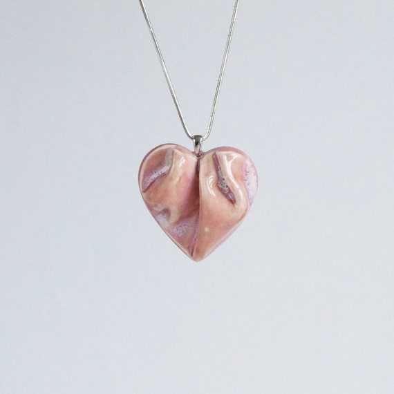 Work of HEART blush pink porcelain necklace. Sculpted ceramic jewellery, soft red ceramic glaze, sterling silver, gift box