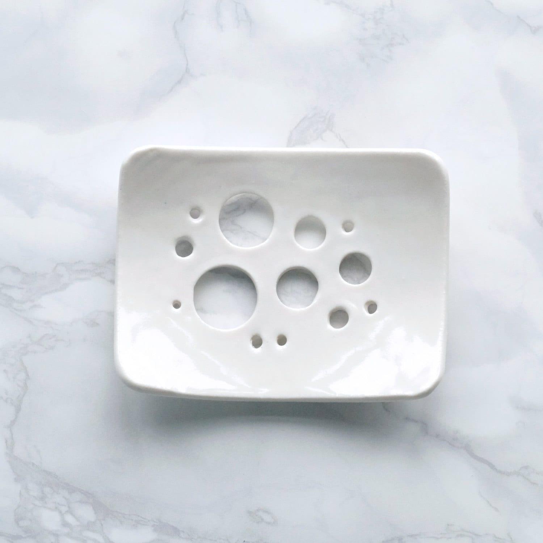 Bubble Holes White Glaze Soap Dish Porcelain Soap Dish