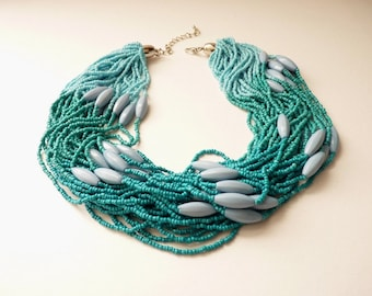 Vintage  Multi-Strand Turquoise Glass Seed Bead Necklace 18 Inch Boho Necklace  by Maxine Denker