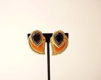 Vintage Designer Paisley Earrings with Black Stones and Bead Trim by Diva c. 1990s