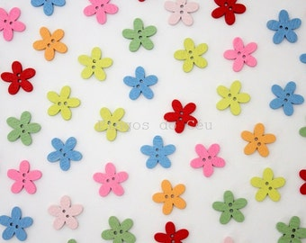 20 pcs wood buttons - Flower - gift wrapping - craft supplies - sewing and scrapbooking - 14mm - ready to ship
