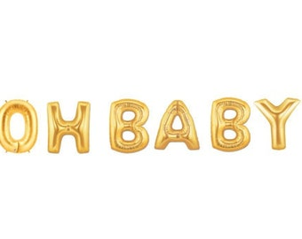 Oh Baby Balloon Kit - Gold - Foil Balloon - Party Decor - Baby Shower - Welcome Baby - 16 inches - 40cms -  Ready to Ship.
