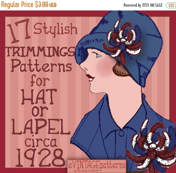1920s Patterns – Vintage, Reproduction Sewing Patterns 17 Art Deco Era Trimmings for Hat and Lapel 1920s  Downton Abbey  FLAPPER e-Pattern PDF A $3.39 AT vintagedancer.com