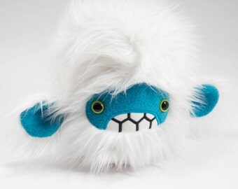 Severed pygmy yeti head plush.....Handmade monster stuffed animal.....white faux fur