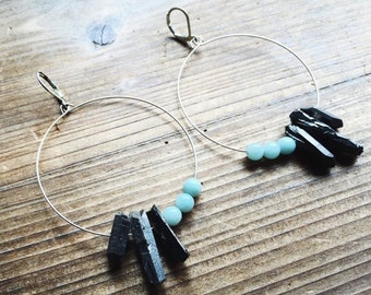 Larimar and Metallic Gray Quartz Brass Earrings Crystal Hoop Jewelry Crystal Jewelry Long Quartz Crystal One of A Kind Handmade in Indiana