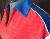 1970s Terry Cloth Sport Top Red, White, Blue