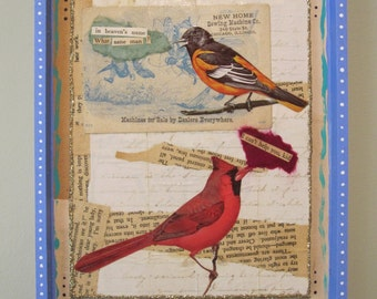 Sassy birds assemblage, shadow box, collage art