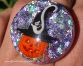 RESERVED ITEM, Halloween Pumpkin Purple Opal Glitter Resin Ring, Witch Glitter Ring, Holographic Stars Lavender Glitter Ring, Glitter Fusion