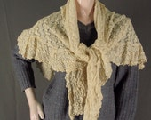 Vintage Lace Shawl Beige Cotton Ripple Triangle Shape