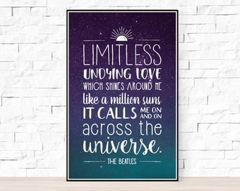 Beatles Song Lyrics Poster - Across the Universe