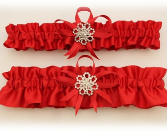 Red Satin Wedding Garter Set with Rhinestone Charms, Bridal Garter, Prom Garter  (Your Choice, Single or Set)