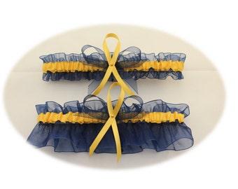 Sheer Navy Blue and Gold Wedding Garter Set, Bridal Garter Set, Prom Garter
