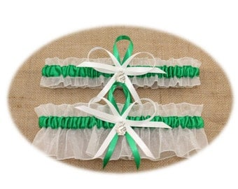White and Green Wedding Garter Set with Spartan Charms, Bridal Garter Set, Prom Garter  (Your Choice, Single or Set)