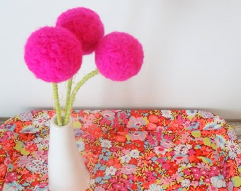 Neon pink flowers.  Hot pink polka dot pom poms.   Big Bright flower bouquet.  Wool felt round ball blooms.  Large pompoms.  Pink Nursery.