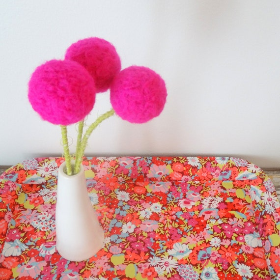 neon pink flowers. hot pink polka dot pom poms. big bright, Natural flower