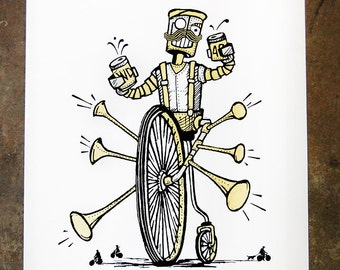 Pedalbot - hand pulled screenprint