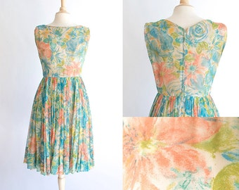 Vintage 50s Dress | 1950s Chiffon Dress | Floral Watercolor Cocktail Dress